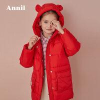 【3件3折:170.7】安奈儿童装女童2019冬季新款连帽茧型批印中长款棉衣
