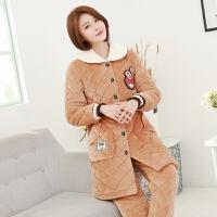秋冬季女款三层夹棉可收腰中长睡衣加厚珊瑚绒时尚外穿长袖家居服