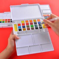固体水彩颜料套装初学者专业手绘12色18色24色36色透明水彩成人便携学生画画漫画固体水粉儿童绘画工具套装
