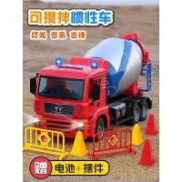 儿童玩具工程车音乐罐车男孩女孩惯性可搅拌车玩具水泥罐车