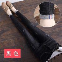 黑色牛仔裤女高腰春秋显瘦学生弹力紧身小脚长裤 黑色 1802 25 1尺8