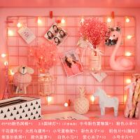 网红照片架网格照片墙装饰ins网红少女房间布置自粘贴免打孔麻绳夹子相片墙