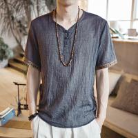 中国风男装刺绣亚麻T恤男短袖宽松大码薄款休闲盘扣复古棉麻上衣