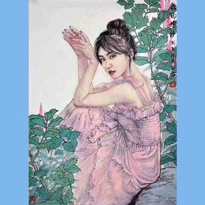 中美协会员,中国人物画职业画家刘夏(花的嫁纱)