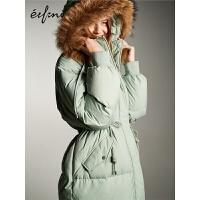 伊芙丽羽绒服女新款冬宽松时尚加厚长款过膝大毛领连帽外套女