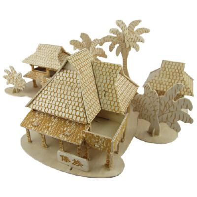 手工制作礼物中国古建筑模型 木制拼装房子模型diy小屋傣族竹楼