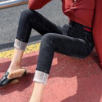 高腰牛仔裤女铅笔裤显瘦港味风冬季弹力加绒小脚裤女