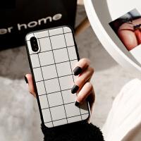 格子手机壳苹果6s女款iphonex手机壳白色简约7/8plus手机壳英伦风