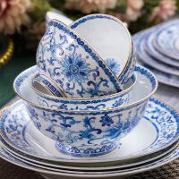 【精选】高档骨瓷餐具摆台碗盘珐琅彩中式青花瓷家宴盘子套装组合餐具