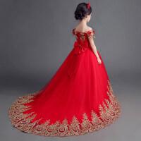 儿童礼服裙蓬蓬裙演出服花童礼服女童拖尾婚纱裙公主裙长拖尾秋季 红色