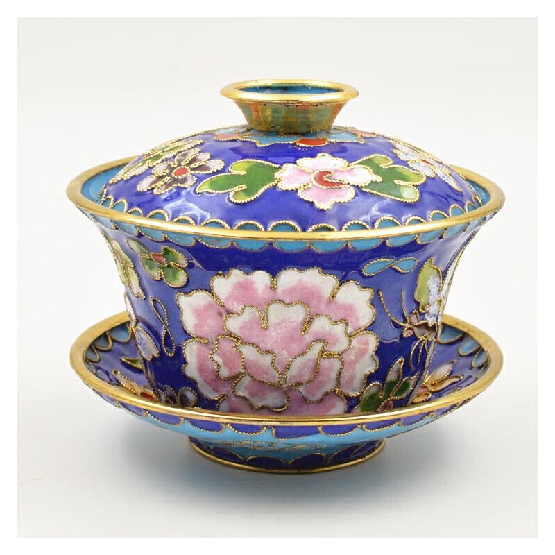 北京景泰蓝盖碗茶碗茶具茶杯特色家居摆件3寸4寸盖碗