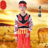 新款六一儿童演出服蒙古舞蹈服幼儿园少数民族男童表演服装演出服