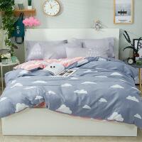 床上四件套纯棉被套床单被子宿舍三件套被罩床笠1.8m
