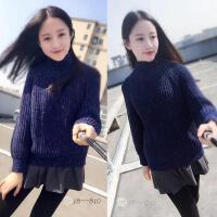 秋冬女2019韩版宽松针织衫加厚套头短款打底衫高领花线毛衣女 均码