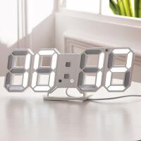ins韩版3D立体钟LED数字钟 现代简约挂钟夜光静音电子时钟闹钟