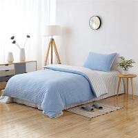 当当优品家纺 全棉日式针织床品 1.2-1.35米床 床单三件套 宝石蓝