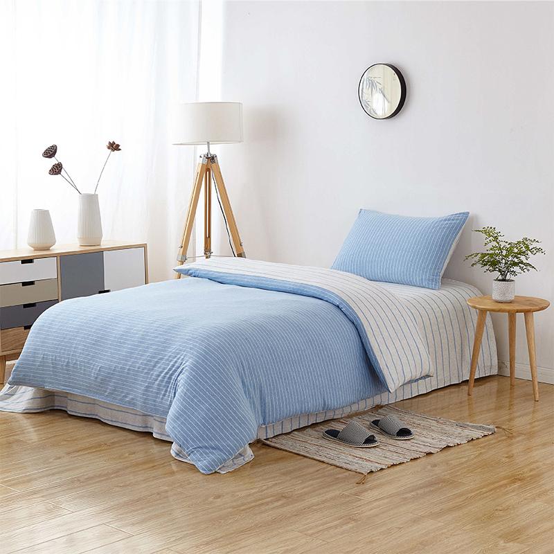 当当优品家纺 全棉日式针织床品 1.2-1.35米床 床单三件套 宝石蓝当当自营 MUJI制造商代工