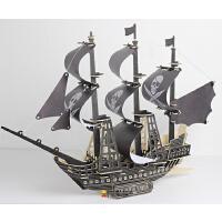 木质战列舰3d船模型diy拼装仿真加勒比海盗船珍珠号军舰帆船玩具