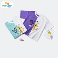 马卡乐童装小童T恤男童2019夏新品宽松撞色拼接T恤不规则