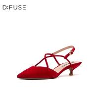 【3折再减80】D:Fuse/迪芙斯2019夏季新款猫跟中后空绑带凉鞋单鞋女DF92114407