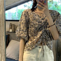 洛丽塔Lolita泡泡袖短袖女装衬衣短款夏季韩版新款抽绳上衣2019学生碎花衬衫潮 均码