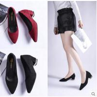 粗跟单鞋女百搭潮款尖头黑色工作鞋中跟职业正装高跟鞋女