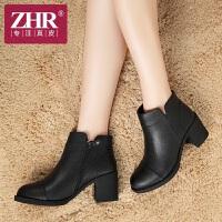 ZHR冬季短筒马丁靴真皮短靴休闲女靴英伦粗跟靴子女潮H56