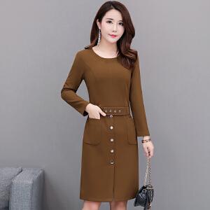 秋季连衣裙2018新款时尚收腰打底裙长袖显瘦35-45岁包臀裙子女