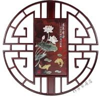 中式装饰画玉雕画背景墙客厅实木挂件雕刻挂画浮雕圆形木雕画