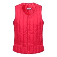 秋冬女士贴身羽绒棉马甲短款中老年保暖背心女装修身加厚坎肩 L 建议90-100斤