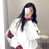 韩国ulzzang秋冬加厚宽松学生bf套头原宿假两件卫衣女保暖加绒潮 M 建议75-100斤