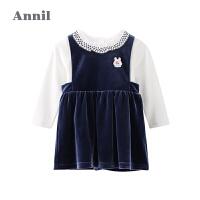 【3件3折价:88.56】安奈儿童装女小童秋季套装纯棉洋气宝宝连衣裙两件套春秋上衣套装