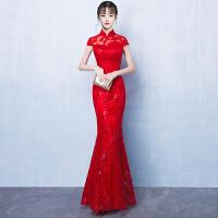 鱼尾敬酒服新娘春季2018新款红色长款旗袍修身中式结婚礼服女夏季