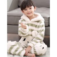 男童睡衣秋冬季法兰绒宝宝家居服中大童可爱动物儿童套装