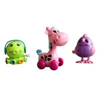 拧发条玩具上链长颈鹿会跑会跳上弦动物儿童小玩具宝宝学爬 三只-颜色随机