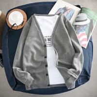 秋装男士针织衫韩版修身开衫毛衣男薄款休闲大码外套纯色简约上衣 灰色 DFA141065毛衣
