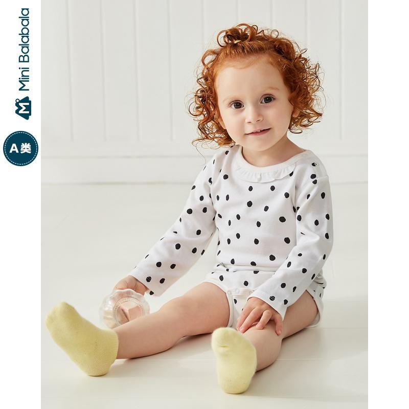 迷你巴拉巴拉婴儿三角衣女宝宝连体衣2019年秋新款碎花三角衣哈衣