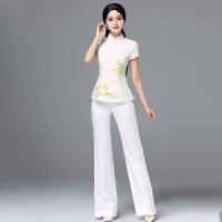 改良旗袍阔腿裤两件套唐装套装女夏复古中式工作装中国风短袖上衣 杏色套装 M