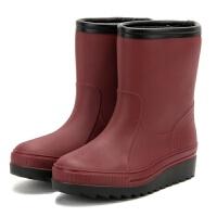 女冬季仿皮加绒保暖雨鞋棉水鞋一体雨靴胶鞋防滑耐油水鞋小码