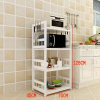 34层不锈钢烤漆厨房置物架落地白微波炉烤箱置物架多层厨房收纳架 四层70cm长*45cm宽*128cm高 板长65