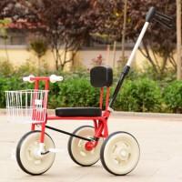 儿童三轮车宝宝脚踏车小孩自行车简约无印推杆手推车童车3岁
