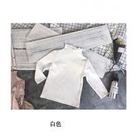 宝宝儿童女童打底衫白色洋气内搭半高领纯色小童婴儿长袖上衣秋衣 白色 625羊毛拉架春款