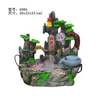 中式加湿器摆件流水风景水晶球风水轮客厅假山喷泉创意礼品