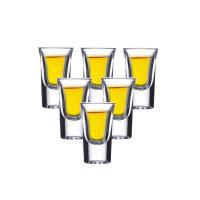 玻璃杯常用洋酒一口吞杯小白酒杯带透明底座