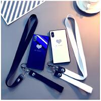 新款闪粉爱心苹果X手机壳iphone7plus保护套挂绳8P蓝光玻璃6s情侣 6、6s(黑底闪粉爱心) 皮黑长+短绳