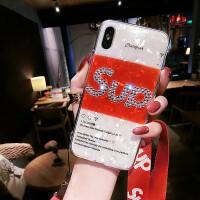 新款苹果X手机壳潮牌水钻字母iphone7plus保护套硅胶8女挂绳6防摔