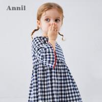 【2件5折:134.5】安奈儿童装女小童连衣裙夏季2020新款荷叶短袖宝宝格子公主裙纯棉