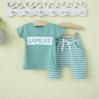 婴幼儿0一1-2-3岁婴儿童装男宝宝夏装半袖套装韩版潮款夏天衣服4 麻绿色短袖条纹(短袖套装) 73cm(73/参考6