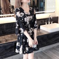 新品碎花连衣裙女夏装裙子夏季2019新款女装潮学生韩版显瘦时尚 黑色