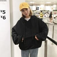 大口袋纯色连帽加绒加厚卫衣女秋冬装韩版学生长袖超火外套潮 2XL 120-140斤